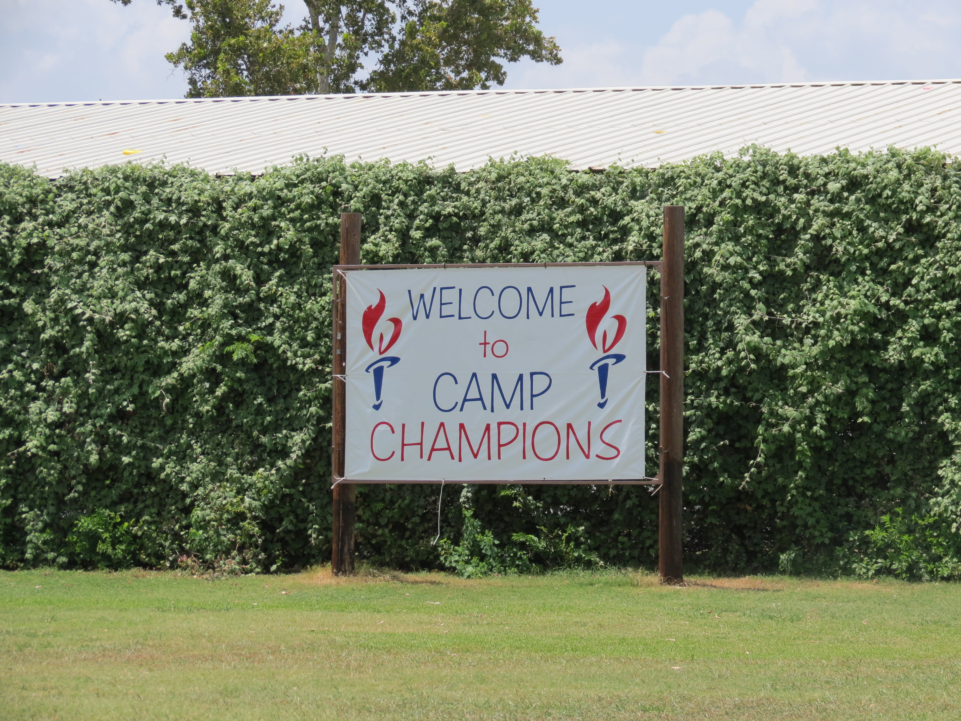 Camp Champions welcome sign