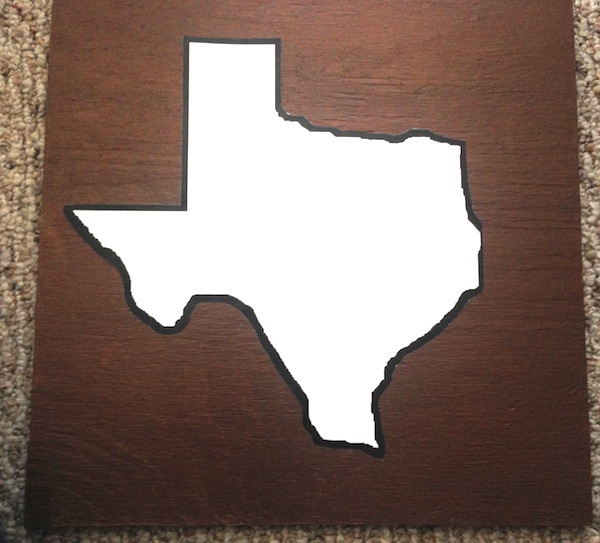 Texas inspired string art texas sting art take nails and start hammering along the outline of your shape the distance between each nail will vary depending on how large your piece prinsesfo Image collections